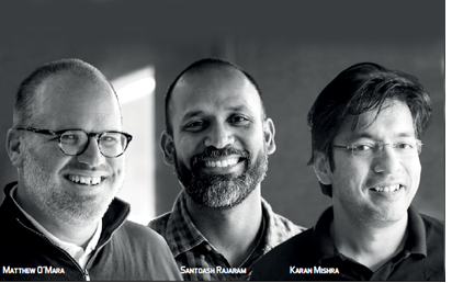 Matthew O'Mara, Co-founder, Santoash Rajaram, Co-founder and Karan Mishra, Co-founder, Spraoi